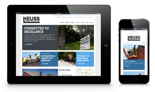 Huess Construction Responsive Small Business Website