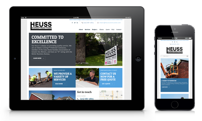 Heuss Construction Website on iPad and iPhone