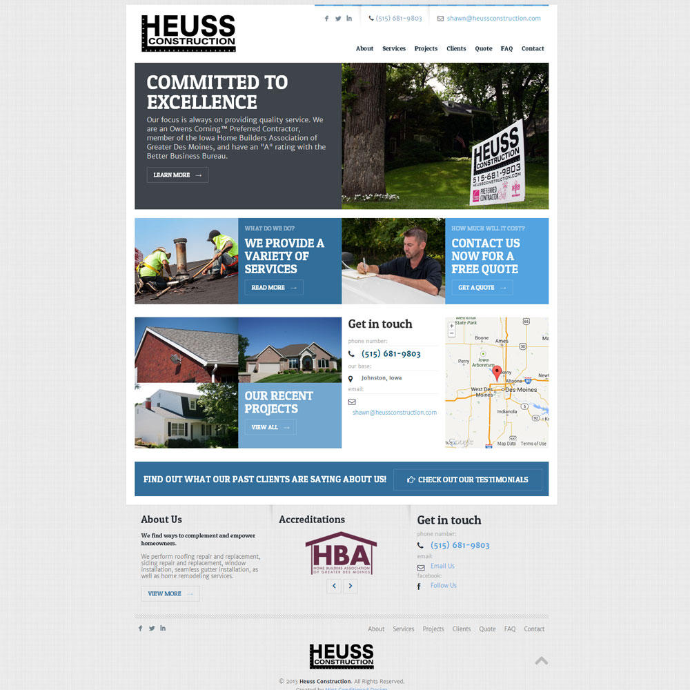Heuss Construction Website on iPad and iPhone 1