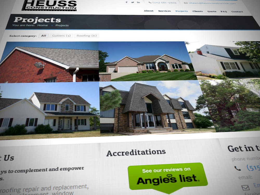 Heuss Construction Website on iPad and iPhone 2